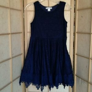Knit Works blue lace dress size 12
